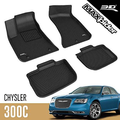 3D MAXpider Chrysler 300 / Chrysler 300C RWD 2011-2019 Custom Fit All-Weather Car Floor Mats Liners, Kagu Series (1st & 2nd Row, Black)