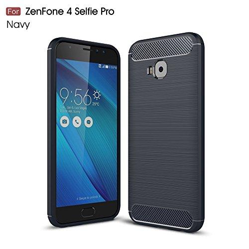 Capa traseira de fibra de carbono para Asus Zenfone 4 Selfie Pro ZD552KL ultrafina TPU marinho