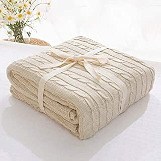 BEESCLOVER Blanket Cotton Bedspread Bedding Knitting Pattern Blanket Air Conditioning Living Room Comfy Sleeping Bed Bedspreads for Bedding Beige 110x180cm