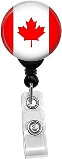 Canadian Maple Leaf Flag Retractable Badge Reel - ID Card Name Tag Custom Badge Holder (Black Badge Reel with Spring Pinch Clip)