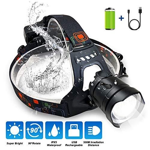 FOCHEA Stirnlampe, Stirnlampe LED Wiederaufladbar USB Kopflampe Stirnlampe Superhell 2000 Lumen 3 Modi mit Rücklicht für Laufen,Joggen, Angeln, Campen für Kinder und mehr