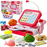 HERSITY Kids Play Tills Cash Register Toy with Scanner and Microphone Pretend Food