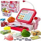 HERSITY Caja Registradora Juguetes Tienda y Supermercado Infantiles con Escáner Calculadora Alimentos de Juguete para Niñas Niños 3 4 5 Años (Rojo)