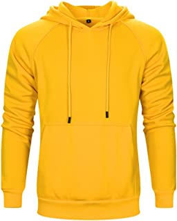 MANLUODANNI Mens Plain Pullover Hoodie Hooded Sweatshirt Tops with Kangaroo Pocket 8 Colors