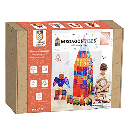 MEGAGONTILES 180PCS Premium Magnetic Tiles | STEM AUTHENTICATED | MEGA Magnet Tiles Set | Magnetic Blocks | Magnetic Toys | Magnetic Building Blocks | Gift for Toddler Boys Girls 3-10 Year Old