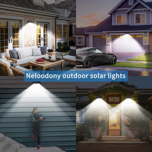 Neloodony Solar Lights Outdoor 100 LED Waterproof Solar Motion Sensor Light Outdoor Super Bright Security Wall Lights for Yard, Patio, Garden, Garage, Steps, Deck (4 Pack)