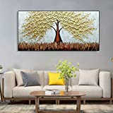Geiqianjiumai Golden Lucky Tree Lienzo Pintura al óleo Sala de Estar Interior Comedor Arte de la Pared Pintura al óleo Cuchillo de Paleta Pintura sin Marco 60X120cm