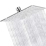Sooreally Rain Shower Head High Pressure, 10 Inch Stainless Steel Square Rainfall Showerhead, Mirror-like, Easy Install, Swivel Spray Angle, Voluptuous Shower Experience, Chrome Finish