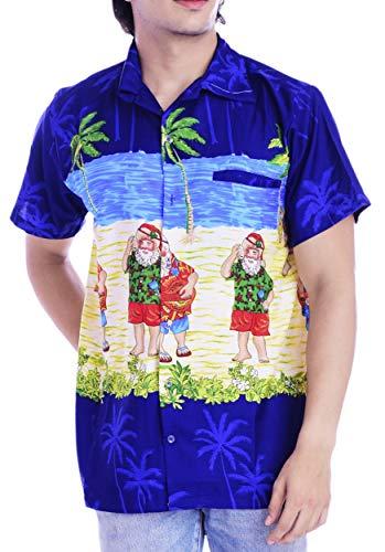 Virgin Crafts Men's Christmas Holiday Santa Claus Party Casual Tropical Hawaiian Beach Shirt