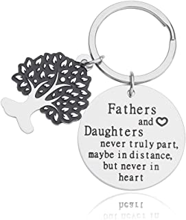 Dad Gifts Keychain from Daughter Fathers Day Gifts for Daddy Papa Thank You Gifts Fathers and Daughters Never Truly Part Dad Daughter Birthday Gifts for Men Dad Grandfather Key Ring