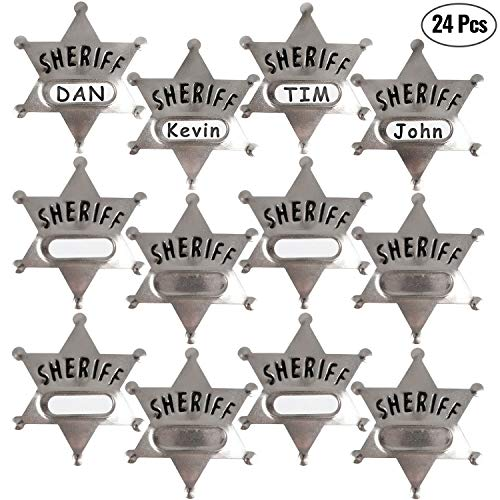 Silver Metal Sheriff Badge (Pack Of 24) With Space And Stickers For Personalized Name, For Kids Party Favors, Giveaways & More