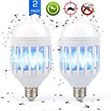 Nicexx Bug Zapper Light Bulb E26/E27, 2 in 1 Electronic Mosquito Fly Killer Lamp, Built in Insect Trap, LED Light Repellent Lamp Indoor Outdoor Camping Travel Home Garden, 15w, Pack of 2, 110V