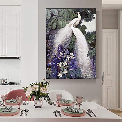 jijimidianzi GFJJTRB,Pintura de la Lona de la decoración de la Pared Pavo Real Blanco Abstracto Minimalista decoración de la Pared del hogar Pintura sin Marco del arte-50x70cm