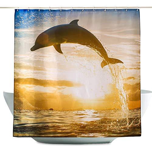 ENCOFT Cortina Baño Antimoho Impermeable con 12 Ganchos de Plástico Cortinas de Ducha Baño Bañera en Poliéster Delfín Crepúsculo Marrón 180x200cm
