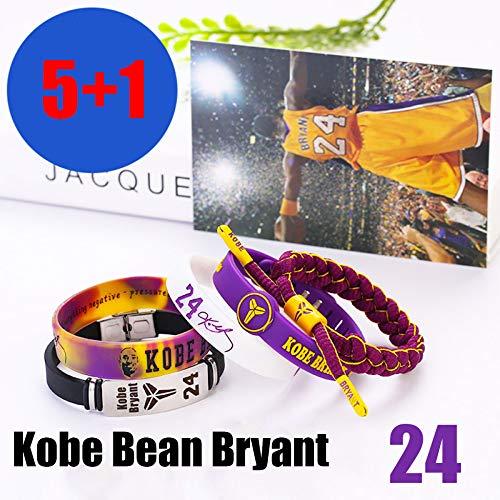 ZZH NBA Los Angeles Lakers Silicone Motivazionale Bracciali Set, Kobe Bean Bryant, Braccialetto Sportivo Unisex,A