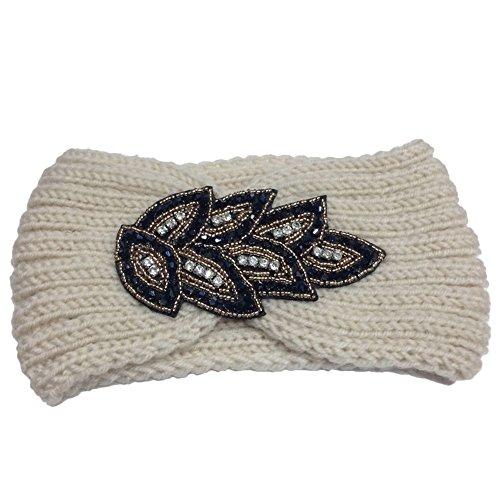 TININNA Serre-tête Bandeau Bande de Cheveux Laine Tricoté Turban Elastique Couvre-Oreille Head Wrap Chapeaux pour Femme Fille - Blanc - Taille unique