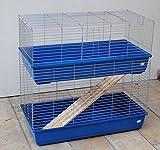 Double töckiges Cage pour rongeurs Cage pour lapin 100cm Bleu/chromé