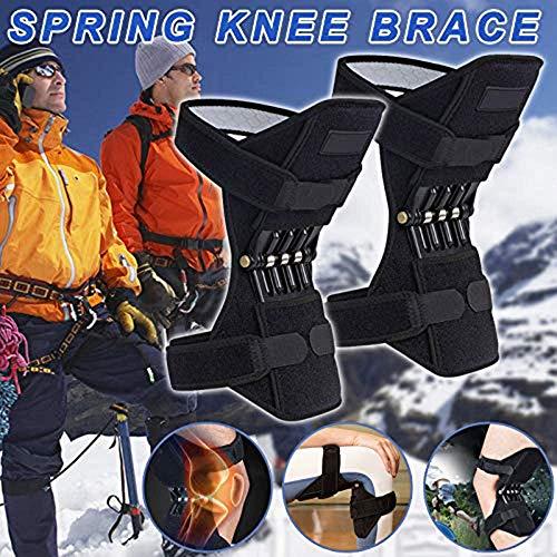 1ペア膝スタビライザーパッドリフトジョイントサポート、スポーツ用リバウンドスプリング力、パワーリフト膝保護ブースター膝蓋骨スタビライザープロテクター、関節痛リリーフディープケア