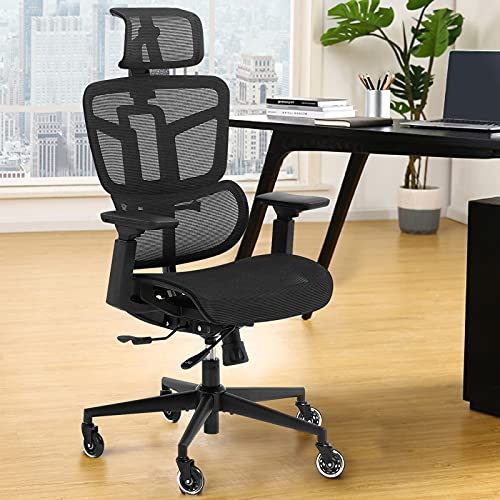 Ergonomic Office Chairs, Mesh Desk Chair with 3D Headrest, 5-Year Warranty Executive Chair with 4D Armrest, High Back Computer Chair, BIFMA Passed Task Chairs for Home Office
