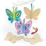 Baker Ross Lot de 6 Papillons 3D en Bois pour Loisirs créatifs et décoration pour Enfants