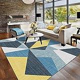Pgron Home Decoración De Dise?O Modernos Salondormitorio De Moda Habitación Infantil Geometrica Pasillo Pelo Corto Alfombra Amarillo Mostaza De Triángulo De Terciopelo Azul 200×300CM