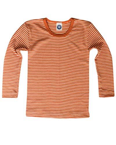 Cosilana, Kinder Unterhemd langarm, 70% Wolle (kbT), 30% Seide (152, Safran-orange Natur)
