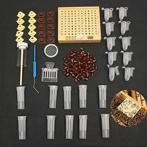 Iycorish 155 piezas de Sistema de cria de reinas de plastico Cultivo de vasos de celulas de caja Jaula de recogedor de abejas Equipo de herramienta de apicultura