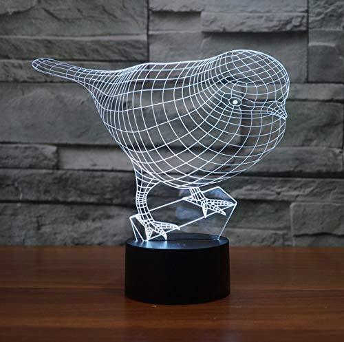 Illusion d'optique Veilleuse Robin Birds, Veilleuse multicolore à LED, Décoration intérieure pour bébé et cadeau pour enfants