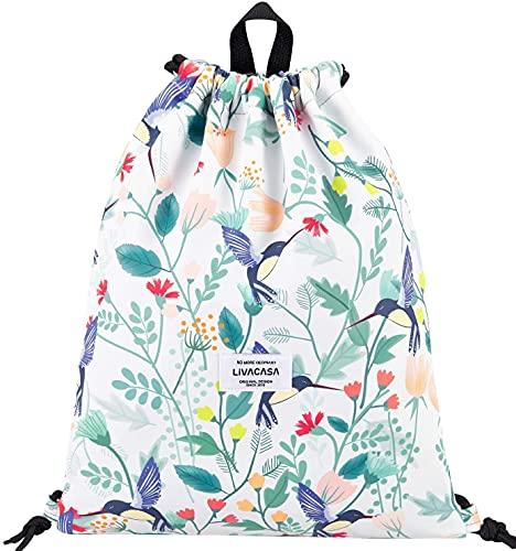 LIVACASA Mochila de Cuerdas Mujer Hombre Bolsas de Cuerdas A Prueba de Agua Bolsillo Exterior Ajustable Correas de Hombros Florales Estampados (Verde Gris)