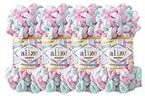 Alize Puffy Color Baby Blanket Yarn Lot of 4skn 400gr 39.3 yds 100% Micropolyester Soft Yarn Hand Knitting Yarn (6052)