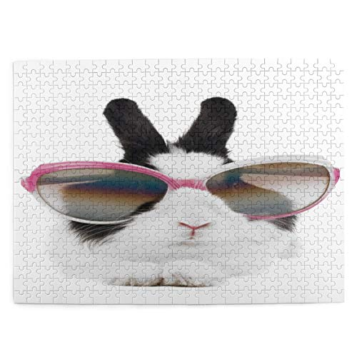 MAYUES Rompecabezas Puzzle 500 Piezas Conejito con Gafas de Sol Inteligencia Jigsaw Puzzles para Adultos Niños Juegos