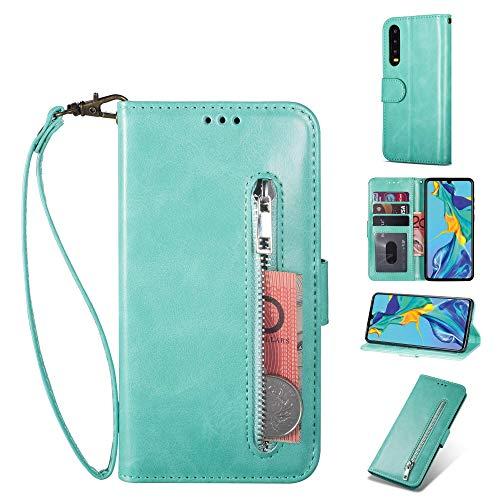 ZTOFERA Huawei P20 Pro Hülle, Magnetisch Folio Flip Wallet Leder Standfunktion Reißverschluss schutzhülle mit Trageschlaufe, Brieftasche Hülle für Huawei P20 Pro - Minzgrün