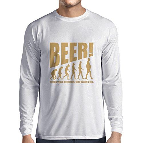 Camiseta de Manga Larga para Hombre The Beervolution - Ideas Divertidas únicas sarcásticas del Regalo para los Amantes de la Cerveza, evolución de consumición (Small Blanco Oro)