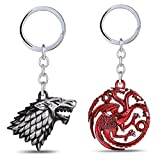 Game of Thrones Metal Keychain - House Stark Sigil - Metal Keyring Pendant - Perfect Gift for Boy Girl Friends