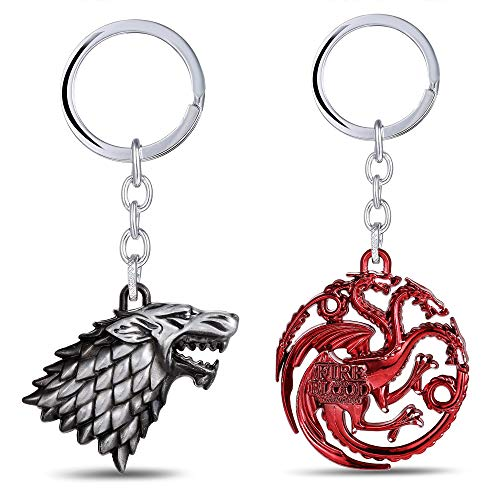 Game of Thrones Metal Keychain - House Stark Sigil Metal Keyring Pendant