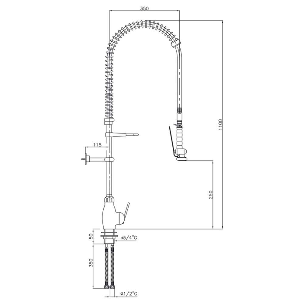 Presto Columna Monomando Mezcladora 71552 Columna industrial con ...