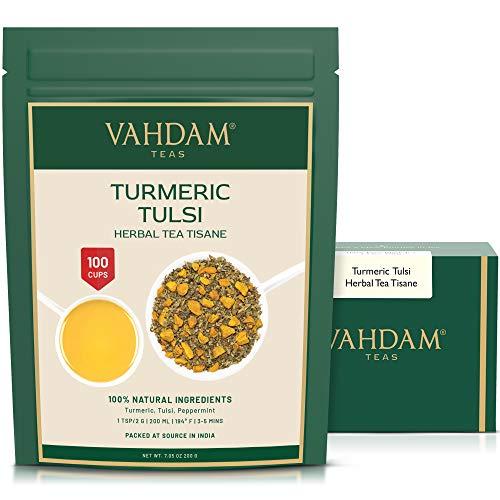 VAHDAM, Hoja Suelta de Té De Hierbas De Cúrcuma Tulsi (100 tazas), 200g | infusiones para adelgazar | Mezcla de té de cúrcuma y tulsi | Tisana 100% natural | Preparar como té caliente o helado