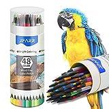 Juego de 48 lápices de colores en un barril con base de cera suave para dibujar, esbozar, sombrear y colorear, lápices de colores vivos para adultos y artistas profesionales