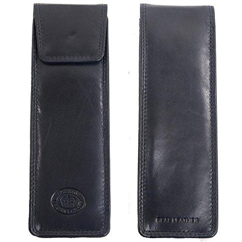 London Leather Brillenetui Damen/Herren aus weichem Leder, schmale Silouette - Dunkelblau