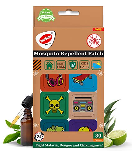 RUNBUGZ Mosquito Repellent Printed Skull Patches for Babies, 30 Patches