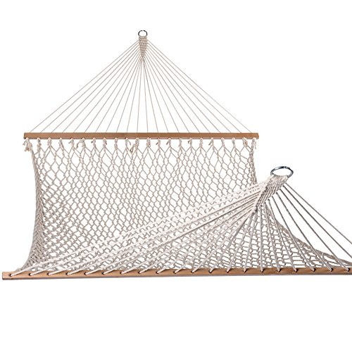 Lazy Daze Hammocks Cotton Rope Double Hammock with Wood Spreader, Chains and Hooks, for Two Person, 450 Pounds Capacity, Natural, Natural 10FT