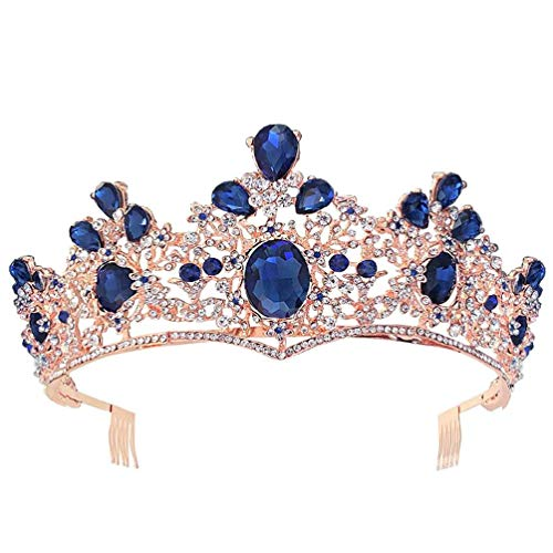 Tiara de novia con diamantes de imitacin de color azul barroco para mujer, con diamantes de imitacin