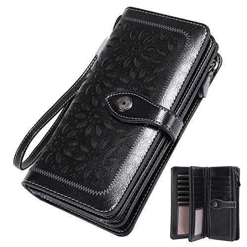 Vintage Geldbörse Damen Leder Gross, RFID Schutz Damen Portemonnaie Groß Viele Fächer, Geldbeutel Damen Gross mit 26 Kartenfächer mit Handyfach (Schwarz)