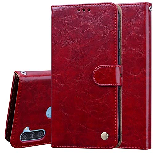 BEIJING  PROTECTIVECOVER+ / for SAMSUNG Galaxy A11 Business Style Oil Wax Texture Horizontal Flip Leather Case with Holder & Card Slots & Wallet, Fashion Protection Phone Case (Color : Brown Red)