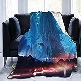 Aquarium Sea World Sharks und Girl Micro Fleece Flanell-Decken Leichte superweiche Bettdecke Fit Couch Geeignet für alle Jahreszeiten 50x40in