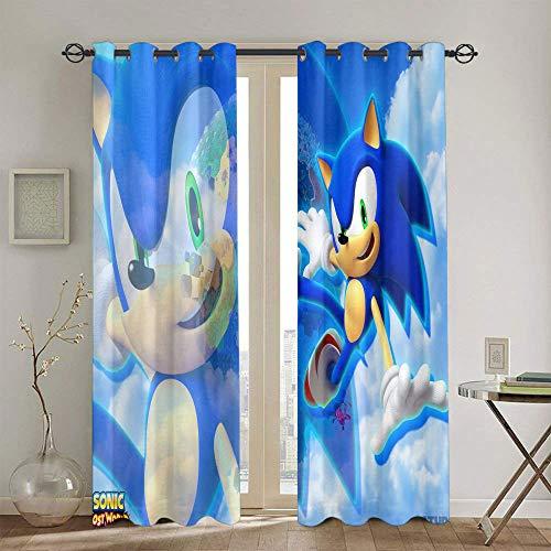 Sonic the Hedgehog - Cortinas aisladas con aislamiento térmico para oscurecer el dormitorio de los niños 42 x 72 pulgadas