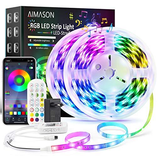 LED Strip Wasserdicht, AIMASON 10M Bluetooth LED Lichterkette Streifen Lichtband mit Fernbedienung, APP-Steuerung, 5050 RGB LED Stripes Band, Musik LED Leiste für Zuhause, Schlafzimmer, TV, Schrank