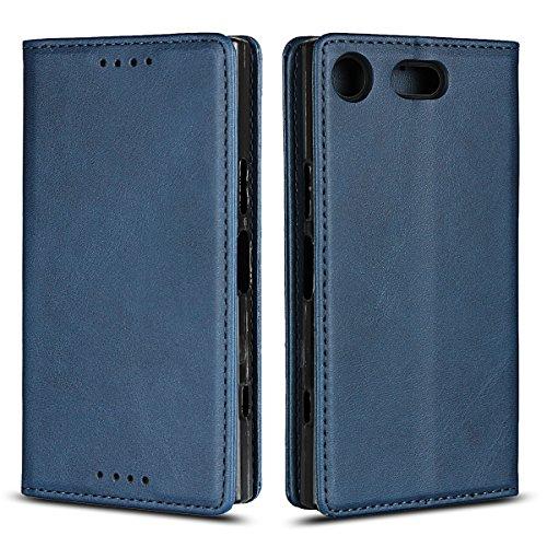 Copmob Sony Xperia XZ1 Compact hülle,Premium Flip Leder Geldbörse mit weichem TPU-Shock Absorption,[3 Kartensteckplatz][Ständerfunktion][Magnetschnalle] - Hellbraun