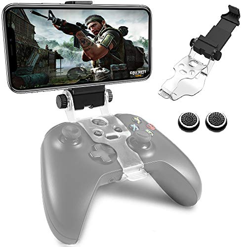 Gamepad Foldable Mobile Phone Holder Smartphone Clip Cellphone Clamp Compatible with Microsoft Xbox One/Xbox One S/Xbox One X Controllers, 1 Phone Holder and 2 Joystick Cap Analog Stick Cap Included