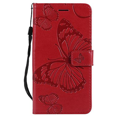 Funda Samsung J7 2017/J730 Funda de Cuero PU Cartera con Tapa Función de Soporte Tarjeta de crédito Cartera Libro magnético Funda de teléfono DESCHE-Rojo